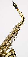 Saxophone detail on white background