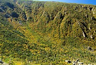 King Ravine during the autumn months from Chemin Des Dames Trail in the Northern Presidential Range of the White Mountains, New Hampshire USA  Snow ca...