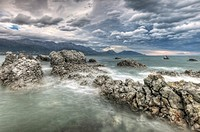 Nor´west storm clouds, Kaikoura headland, North Canterbury, New Zealand.