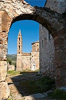 The church of Agios Spyridon in the ruins of Old Kardamyli, in the outer Mani, Southern Peloponnese, Greece