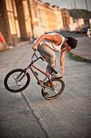 BMX flatland stunt rider