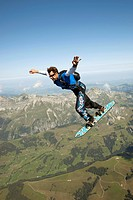 Skysurfer, Saanen, Switzerland, side view