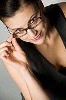young, attractive woman with glasses