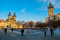 Old Town Square winter with Tyn cathedral and old town hall Prague Czech Republic Europe