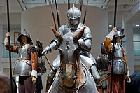 An exhibit of historical armor at the Royal Armouries in Leeds West Yorkshire England December 12 2007