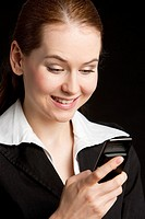 portrait of businesswoman with mobile