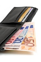 Wallet with euro currency notes