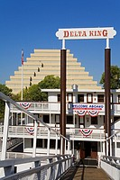 Delta King Paddle Steamer & Ziggurat building, Old Town Sacramento, California, USA