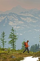 A male hiker in the Purcell Mountains with the Bugaboos behind. British Columbia, Canada