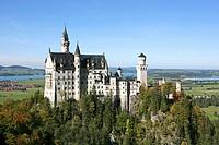 Schloss Neuschwanstein fairytale castle built by King Ludwig II near Fussen Bavaria Germany