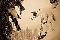 A male freeskier airing a cliff in the Revelstoke Resort Backcountry, BC