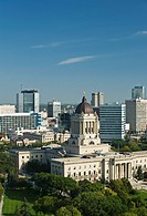 Winnipeg skyline with Manitoba Legislative Building in the foreground, Winnipeg, Manitoba, Canada