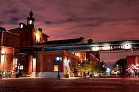 The Distillery shining at night. Historic district built in 1832 in Toronto Currently one of the major tourist attractions with many shops restaurants...