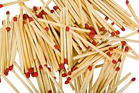Close_up of a heap of matchsticks