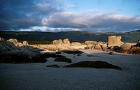 Carnota beach looking inland near Muros, La Coruna province, Galicia, North-West Spain