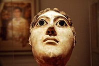 Mask of a Woman with a Large Coil of Plaited Hair , Reign of Hadrian, 117-138 AD, Metropolitan Museum of Art, New York City, The woman´s high coiled b...