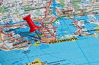 red map pin in road map pointing to city of Portsmouth