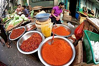 Spices in the yangon market, myanmar.