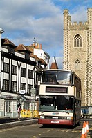 The Butter Market READING BERKSHIRE Reading doubledecker bus and SaintLaurance church tower