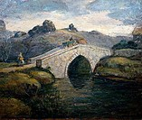 Crossing the Bridge by Clarence Begley, oil on wood, USA, Pennsylvania, Philadelphia, David David Gallery
