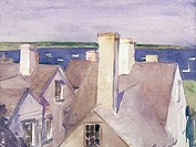 Rooftops by Alice Kent Stoddard, watercolor, 1935, 1884_1976, USA, Pennsylvania, Philadelphia, David David Gallery