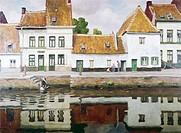 Village at Termonde by Victor Olivier Gilsoul, oil on canvas, 1876_1939, USA, Pennsylvania, Philadelphia, David David Gallery
