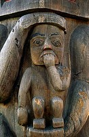 Close_up of a totem pole, Royal British Columbia Museum, Victoria, British Columbia, Canada