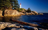 Lighthouse on the coast, Point Atkinson Lighthouse, West Vancouver, British Columbia, Canada
