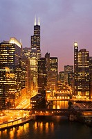 Chicago River at twilight, Chicago, Illinois
