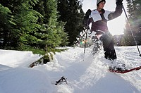 Snowshoer with flying snow, Washington, USA