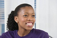 View of a young woman smiling