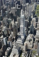 USA, New York State, New York City, Manhattan skyscrapers, elevated view