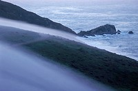 Morning fog rolling over the coastal headland, Pt. Reyes, California.