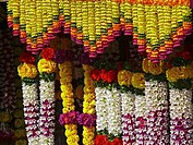 Artificial Garlands Outside a shop for selling near a temple, Maharashtra, India