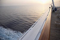 view from cruise ship on ocean at sunset