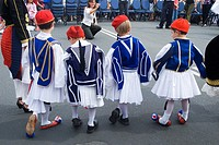 Australians of Greek descent celebrate at a festival with dancing in traditional costume
