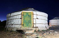 Traditional Ger at night in the Gobi desert, Mongolia