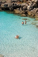 Swimmers at Es Calo Blanc, Minorca, Balearic Islands, Spain