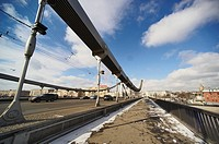 Krymsky Bridge or Crimean Bridge steel suspension bridge, Moscow, Russia