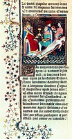 Emperor Nero, after murdering his mother, Agrippini, presides over her autopsy. This illustration, from 1410, is from a collection of stories about fa...