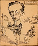 Caricature of Guglielmo Marconi 1874_1937 holding a pure electric current pie. The text at top right reads: The Marconi pie, made wholly of electric c...