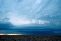 A shelf cloud forms in advance of a severe thunderstorm in Kansas.