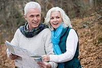 Mature couple with map