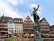 German city Frankfurt Main old town timbered house and Justitia fountain at Roemere