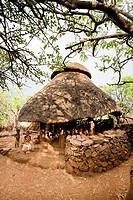 Traditional Konso village on a mountain ridge overlooking the rift valley Community house for the unmarried boys and men  The Konso are living in trad...