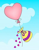 Hearts spilling from gift bag as it's being lifted through the clouds by a heart-shaped balloon