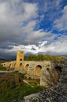 Medieval bridge over Ebro river, Frias. Burgos province, Castilla-Leon, Spain
