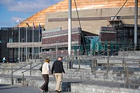 The Senedd, Senate, National Assembly building, by architect Richard Rogers, and Wales Millennium Centre. Canolfan Mileniwm Cymru. Cardiff Bay. Cardif...