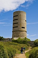 Fort Saumarez ST SAVIOUR GUERNSEY Tourist couple German World War two concrete observation tower