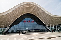 The new railway station in Wuhan. The bullet trains to Guangzhou and Beijing depart from this station
